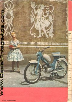 1960-Circa Vintage Jawa Motorcycle Brochure Printed in Czechoslvakia