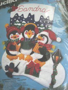 """Bucilla Felt Applique Holiday Stocking Kit,CHRISTMAS CAROLING,Penguins Sing,15"""" #Bucilla"""