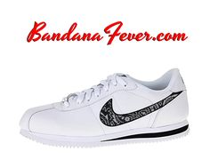 Custom Metallic Silver Bandana Nike Cortez Leather White/Black, Bandana Fever