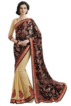 Cream designe party wear saree online from easysarees