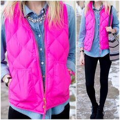J. Crew Hot Pink Excursion Puffer Vest Our latest light-as-air puffer vest is completely compact and easy to layer yet warm enough to keep winter's chill at bay.  -Down-filled poly. -Hits at hip. -Standing collar. -Zip closure. -Patch pockets. -In great condition. Has some dark spots in some areas that are barely noticeable. (See pics)  *Cover photo credit: Kelly in the City blog.  NO trades. Please make all offers through offer button. J. Crew Jackets & Coats Vests