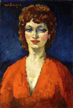 Van Dongen, Kees (Delfshaven 1877 - 1968 Monaco)  Portrait of a woman dressed in orange colour pullover.