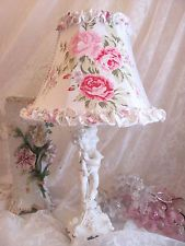 "7 "" LAMP SHADE shabby R Ashwell Wildflower fabric chic ruffle Lampshade cottage"