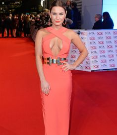 Sam Fariers Sam Faires, Floor Length Gown, Blonde Beauty, Coral Color, Plunging Neckline, Fashion News, Awards, Gowns, Formal Dresses