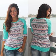 """""""MINT"""" TO BE YOURS! Ladies, check out what's finally BACK!!! This Mint Printed Top With Pocket has been one of our best seller tops and we can totally see why! The print is adorbs and the crochet pocket adds a cute touch to this must have piece! See other awesome tank tops at our online boutique!"""