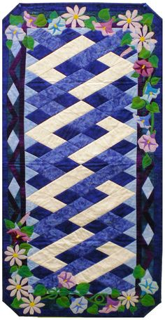 September Morning Glories & Asters Table Runner. too pretty.