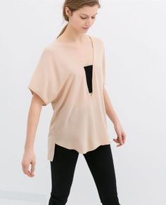 COMBINED STRETCH BLOUSE from Zara