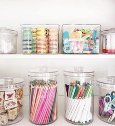 Jan 2020 - The best home organization ideas for every room in your house. Your guide to create stylish organized spaces. Plus, where to get the best storage solutions. Craft Closet Organization, Organization Station, Playroom Storage, Organization Ideas For The Home, School Desk Organization, Kids Craft Storage, Organizing Toys, Craft Storage Solutions, Stationary Organization