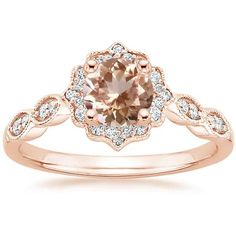 European Engagement Ring - Round Cut Morganite Swing Halo Diamond... (€1.170) ❤ liked on Polyvore featuring jewelry, rings, accessories, vintage style engagement rings, wedding rings, vintage style wedding rings, engagement rings and round wedding rings