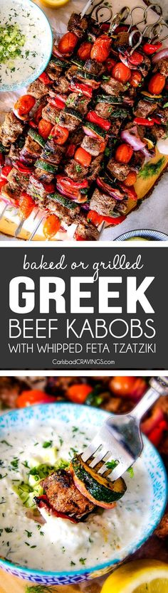 These easy Baked or Grilled Greek Beef Kabobs are so crazy juicy and exploding with flavor in every mouthwatering bite! And the creamy, refreshing Whipped Feta Whipped Feta Tzatziki Dip is out of this world!