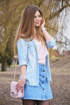 Mis Marli: Denim skirt  #mismarli #blogger #style #fashion #pink #pastels #jeans #jeansskirt #skirt