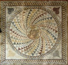 Mosaic floor with Medusa's head. Piraeus. 2nd cent. CE. Athens, National Archaeological Museum.