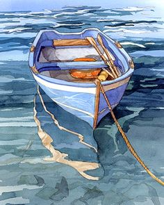 boat painting  VernazzaReflection