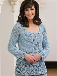 Blue Blitz Jacket - Free crochet pattern. Size includes women's small through 3X-large. Made with one strand each super fine (fingering) and light (light worsted) weight yarns and size G (4mm) hook.