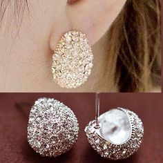 2017 Fashion Jewerly Vintage Full Crystal Crescent Stud Earrings Beatles Earring For Woman New Christmas Gift Wholesale A1967a