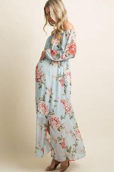 b99ea9e6557 Light Blue Floral Chiffon Off Shoulder Maternity Maxi Dress