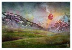 Icelandic Landscape with Floating House by guillembe.deviantart.com on @deviantART