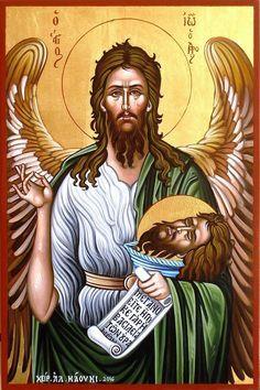 Imagine Pin Religious Icons, Religious Art, Byzantine Icons, Orthodox Christianity, Archangel Michael, John The Baptist, Catholic Saints, Orthodox Icons, Sacred Art