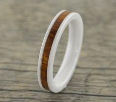 White Ceramic Ring W/Koa Wood by TungstenCleanJewelry on Etsy