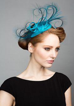 Rachel Trevor Morgan Millinery S/S 2015, R1584 Turquoise teardrop headpiece with curled burnt pheasant