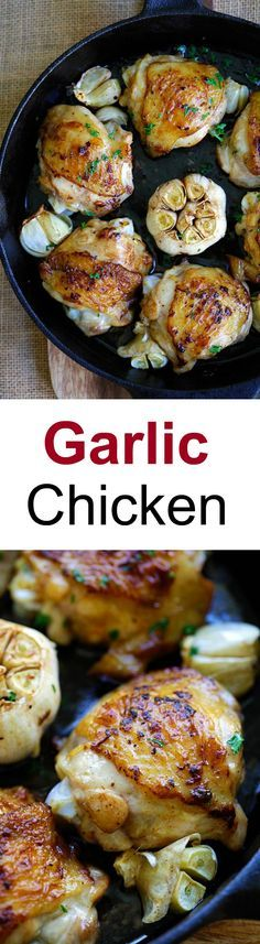Garlic Chicken – crazy delicious chicken roasted with garlic. Juicy, moist, flavorful skillet chicken with simple ingredients. Dinner is done in 20 mins | rasamalaysia.com