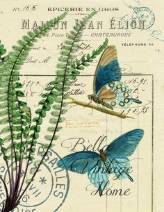 Botanical Blue Butterflies and Fern Print,  Pillow, Note Cards, Tea Towel