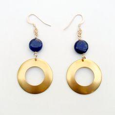 Navy Blue Earrings  Lapis Earrings  Yellow Gold by jewelrybycarmal, $20.00