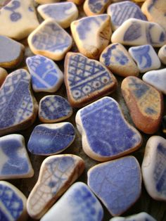 Blue pottery beach shards. Such a treasure!