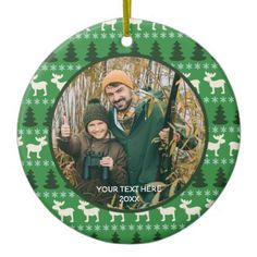 Rustic Wilderness Two Photo Two Sided Ceramic Ornament - photo gifts cyo photos personalize