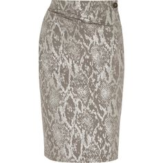 Vivienne Westwood Anglomania Isolation metallic snake-jacquard skirt (295 CAD) ❤ liked on Polyvore featuring skirts, metallic, button skirt, snake skirt, brown skirt, gathered skirt and ruched skirt