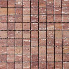 Mozaika marmurowa -  Kolekcja: Tetra 30; Kod: T3010; Wykończenie: ANTICO; Materiał: Travertino Red; Wym. Kostki: 3,0x3,0 cm; Wym. Plastra:  28,9x28,9 cm