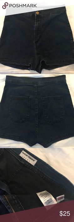 🆕American apparel high waist shorts Dark blue denim high waisted shorts. These shorts have never been worn! They have a nice stretch to it. Made in Usa size S. the model (2nd pic) is wearing the black version but the one I'm selling is dark blue 😊 new without tags! American Apparel Shorts Jean Shorts