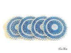 Crochet sottobicchieri blu sottobicchieri luce di CreArtebyPatty