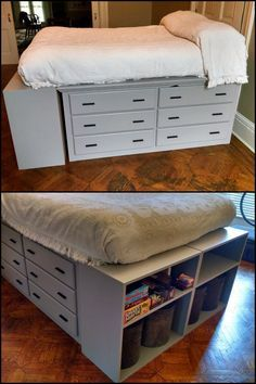 Finding a storage unit that perfectly suits all our needs is one of the challenges we usually face when it comes to organizing our homes. This DIY dresser platform bed just might be the effecti Diy Storage Bed, Bedroom Storage, Storage Spaces, Storage Ideas, Diy Bedroom, Shoe Storage, Storage Solutions, Bedroom Ideas, Craft Storage