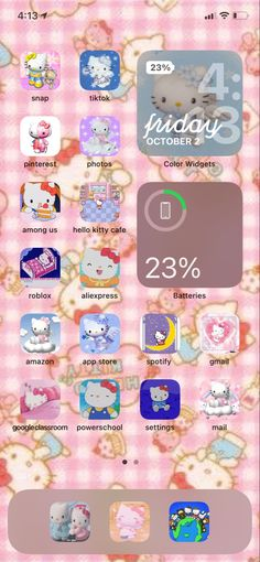 Kitty Cafe, Phone Organization, Pinterest Photos, Aesthetic Iphone Wallpaper, Photo Colour, Homescreen, Bro, Hello Kitty, Archive