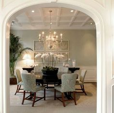 Coffered Ceiling. See More. Content In A Cottage Dining Room Blue, Dining  Area, Dining Rooms, Dining Table