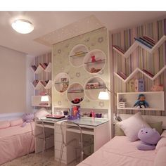 26 Adorable Kid Room Decor Ideas to Make Your Children's Space Fun - Di Home Design Twin Girl Bedrooms, Girls Bedroom, Kids Bedroom Designs, Kids Room Design, Bed Designs, Small Room Bedroom, Bedroom Decor, Sister Room, Shared Rooms