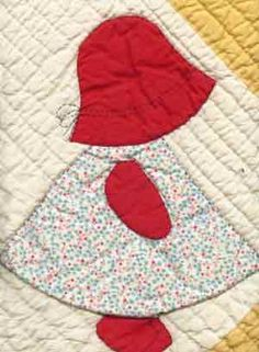 This is why I am so fascinated with Holly Hobby and others of that genre:  they're based on the Sunbonnet Sue quilt pattern.  I love quilting, and didn't have many dolls as a child  :)