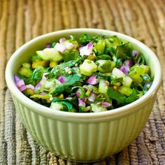 Recipe for Tomatillo  Salsa with Roasted Green Chiles, Cilantro, and Lime from Kalyn's Kitchen