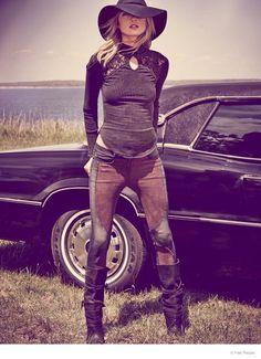 Dark Bohemian Fashion - The Easy Rider Photoshoot for Free People Stars Martha Hunt (GALLERY)