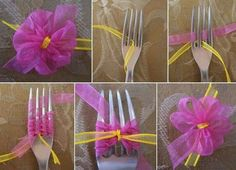 Mini fork bow how-to Cute Crafts, Crafts To Do, Diy Craft Projects, Crafts For Kids, Arts And Crafts, Diy Crafts, Fork Crafts, Craft Ideas, Handmade Flowers