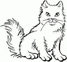 Fluffy cat - Free Printable Coloring Pages