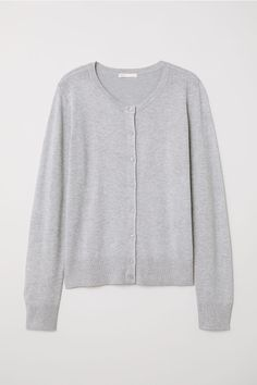 80275e4b29b Fine-knit Cardigan - Light gray melange -
