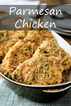 Pounded to an even thickness, these chicken breasts are crusted with Parmesan-seasoned breadcrumbs and baked to crispy, crunchy perfection. Parmesan Crusted Chicken, Chicken Parmesan Recipes, Buttered Noodles, Quick Weeknight Meals, How To Make Salad, Chicken Breasts, Food Print, Dinner Recipes, Cooking Recipes
