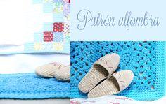 """Alfombra Crochet con Trapillo Patrón Gratis en Español ( click en el cuadradito azul donde pone """"Descargar PDF"""" )"""