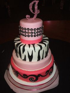 girly zebra cake cakes