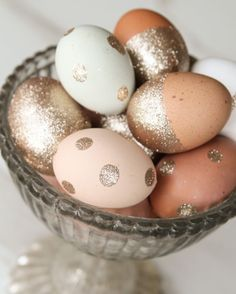 Glitter adorned Easter eggs.