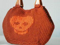 Knit handbag Skull pattern Knitting Women Tote fashion by NzLbags, $115.00