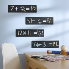 Love these math chalkboard decals for improving your kids math skills at home!