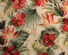 hawaiian flower barkcloth vintage